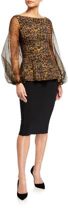 Chiara Boni Hasana Printed Organza Sheer-Sleeve Peplum Dress