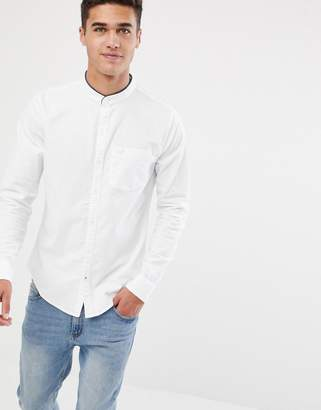 Hollister muscle fit banded collar icon logo oxford shirt in white