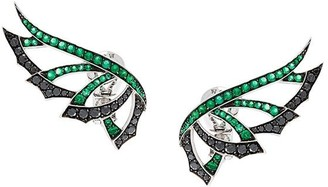 Stephen Webster 'Magnipheasand' diamond and emerald earrings