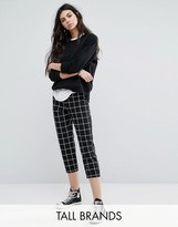 Noisy May Tall Grid Print Cropped Pants