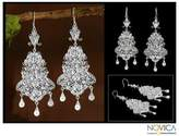 Bridal Fine Silver Filigree Earrings, 'Glorious'