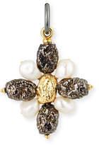 Grazia And Marica Vozza Black Silver Cross Nugget Charm with Pearls