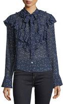 Veronica Beard Finley Ruffled Tie-Neck Floral-Print Blouse