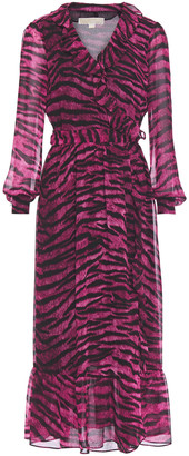 MICHAEL Michael Kors Ruffle-trimmed Tiger-print Georgette Midi Wrap Dress