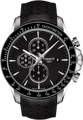 Tissot Men's V8 Automatic Chronograph Leather Strap Watch, 45mm