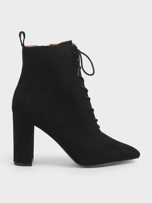 Charles & Keith Textured Lace-Up Ankle Boots