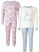 John Lewis Children's Squirrel And Hedgehog Print Pyjamas, Pack of 2, Pink/Blue