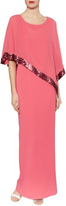 Gina Bacconi Crepe Maxi Dress And Sequin Band Chiffon Cape