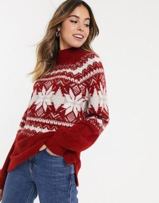 Abercrombie & Fitch oversized mock neck fairisle jumper-Red
