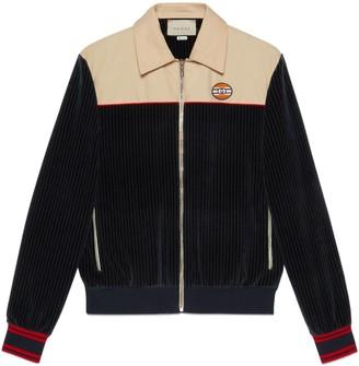Gucci Rib cotton velour zip-up jacket
