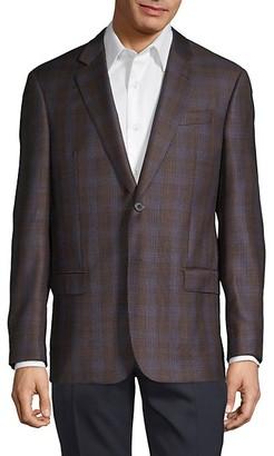 Armani Collezioni Super 130's Classic-Fit Virgin Wool Plaid Sportcoat