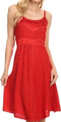 Sakkas 161117 - Markay Short Mid Length Spaghetti Strap Sleeveless Embroidered Batik Dress - Navy - 1X/2X
