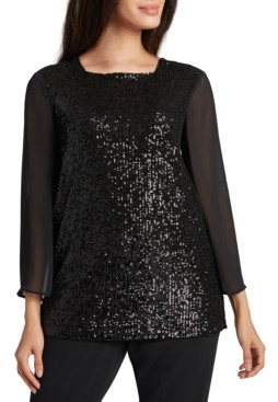Tahari ASL Sequinned Chiffon-Sleeve Top