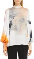 Roksanda Print Bishop Sleeve Silk Blouse