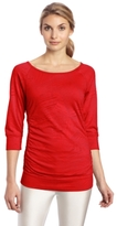 MPG Sport Women's Damsel Rouched Burnout Jersey Cover-Up Top