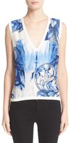 Versace Leaf Print V-Neck Knit Shell