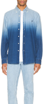 Polo Ralph Lauren Indigo Solid Button Down Shirt in 4380 Blue Dip Dye | FWRD