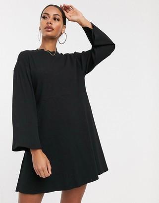ASOS DESIGN rib oversized smock dress in black