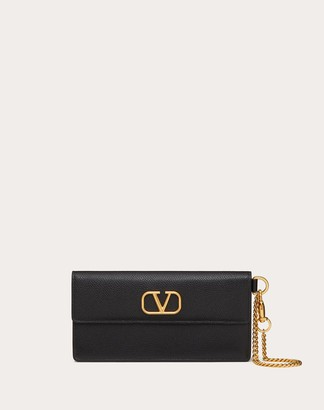 Valentino Vlogo Signature Grainy Calfskin Bill Pouch With Chain Handle Women Black Calfskin 100% OneSize