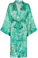 Märta Larsson Chrysocolla print Tie Waist Silk Kimono