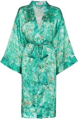 Märta Larsson Chrysocolla print Tie Waist Silk Kimono