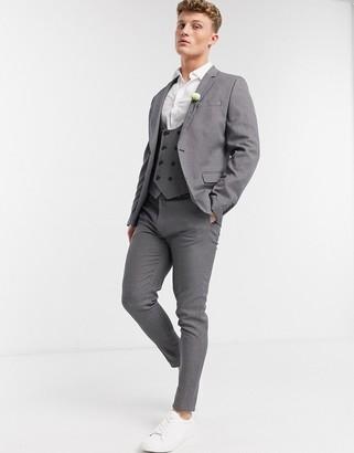 ASOS DESIGN wedding super skinny suit trousers in micro texture in tan
