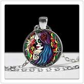 Happiness Home Sugar Skull Lady Necklace Glass Cameo Pendant Cabochon Tile Necklace Jewellery