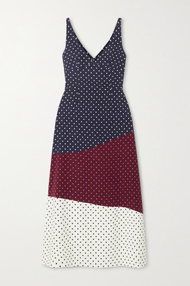 Gabriela Hearst Elliot Paneled Polka-dot Silk And Wool-blend Midi Dress - Navy