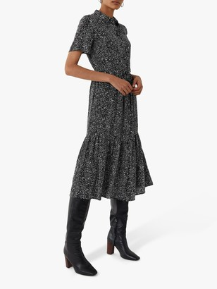 Warehouse Random Print Midi Shirt Dress