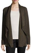 Eileen Fisher Fine Merino Birdseye Angle-Front Jacket, Caper