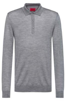 HUGO BOSS Merino-wool-blend sweater with polo collar