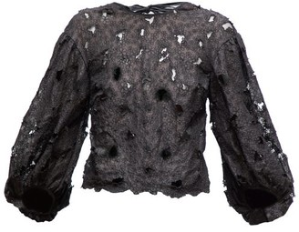 Cecilie Bahnsen Agnes Floral-embroidered Silk-blend Organza Blouse - Black