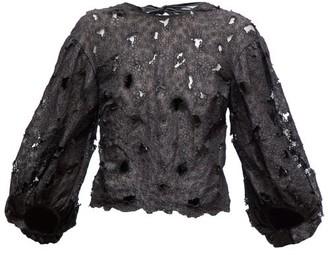 Cecilie Bahnsen - Agnes Floral Embroidered Silk Blend Organza Blouse - Womens - Black