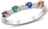 Zales Mother's Birthstone and Diamond Accent Alternating Ring in Sterling Silver (4 Stones)