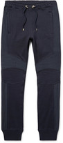 Balmain Slim-Fit Canvas-Panelled Stretch-Cotton Jersey Sweatpants
