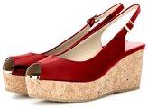 Nancy Jayjii Women Peep Toe Cork Heel Wedges with Platform Slingback Leather Sandals 10
