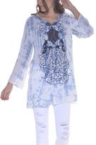 Paparazzi Blue & White Embroidered Tie-Dye Tunic