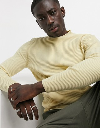 ASOS DESIGN muscle fit ribbed turtle neck sweater in oatmeal