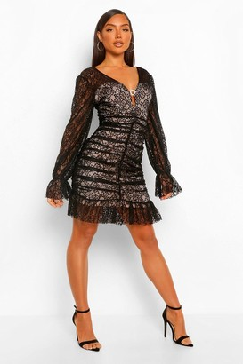boohoo Lace Frill Hem Mini Dress