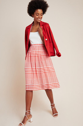 Eva Franco Harmonia Plaid A-Line Midi Skirt By in Assorted Size 2