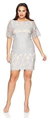 Adrianna Papell Women's Size Plus Bell Sleeve Georgia Lace Sheath