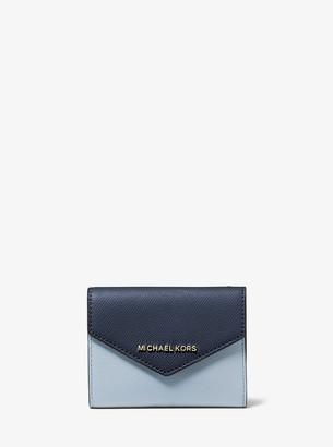 MICHAEL Michael Kors Medium Color-Block Crossgrain Leather Envelope Wallet