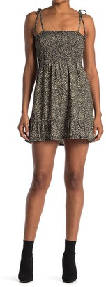 Topshop Animal Print Shirred Jersey Flippy Dress
