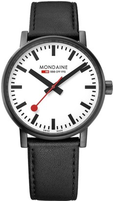 Mondaine Swiss Made Evo2 White Sapphire Glass Dial Black IP Stainless Steel 40mm Case Black Leather Strap Watch