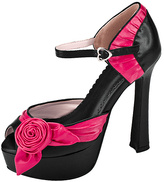 T.U.K. Black & Pink Rose Platform Leather Pump