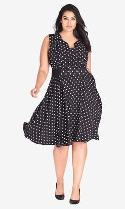 City Chic Vintage Spot Belted Fit & Flare Dress in Black Size 14/X-Small
