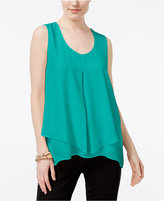 NY Collection Petite Pleated Layered Top