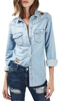 Topshop Moto Ripped Denim Shirt