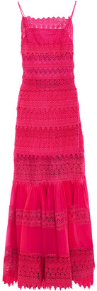 Charo Ruiz Ibiza Crocheted Lace And Cotton-blend Voile Maxi Dress