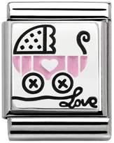 Nomination My Family Big Silver Pink Pram Charm 332203/08